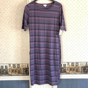 LulaRoe Striped Blue & Pink Julia Dress Size XL